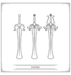 Rounded Fantasy Sword Lineart vector