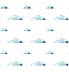 Seamless cloud pattern pixel art vector image