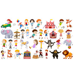 Set children and funfair vector