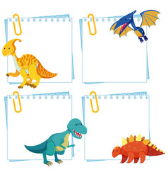 Set dinosaur on note template vector