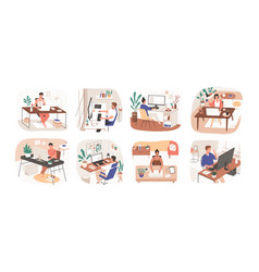 set freelance people working remotely vector image