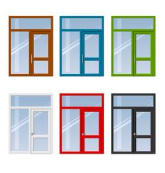 set of doors and windows vector image