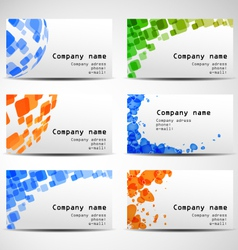 set of six business cards vector image