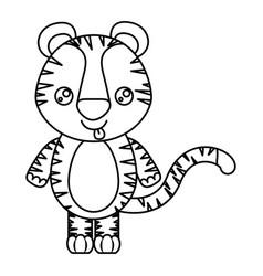 Sketch silhouette of kawaii caricature cute vector