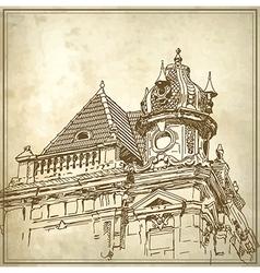 Sketchy drawing historical building vector