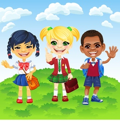 Smiling schoolchildren of different nationalities vector image