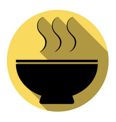 soup sign flat black icon with flat vector image