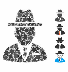 Spy person composition icon rough elements vector