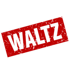 Square grunge red waltz stamp vector