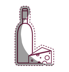 Sticker wine bottle with tasty cheese vector