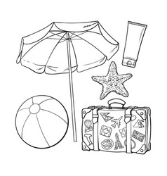 Summer time vacation attributes - umbrella vector