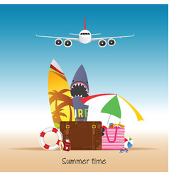 Summer time with airplane vector