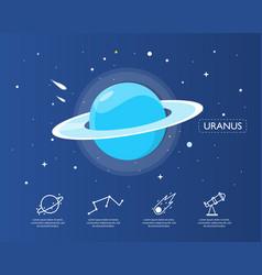 The uranus infographic in universe concept vector