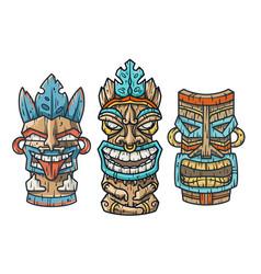 Trendy hawaii tiki mask or face idol ethnic totem vector