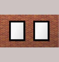 two black frames on a brick wall mock up vector image