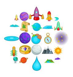 universe icons set cartoon style vector image