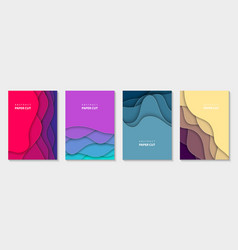 vertical flyers with vivid colors paper cut waves vector image