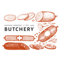 Vintage meat hand drawn sausages spices and vector