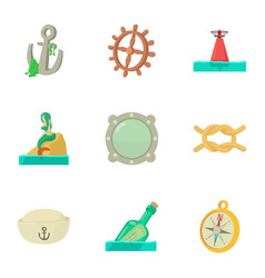 Water superstitions icons set cartoon style vector