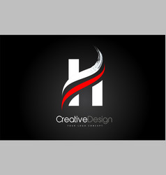 white and red h letter design brush paint stroke vector image