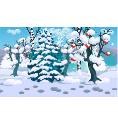 winter sketch on the background of snowy spruce vector image