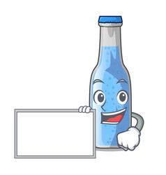 With board soda water and ice cubes cartoon vector