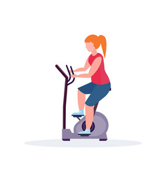 woman training exercise bike sportswoman riding vector image