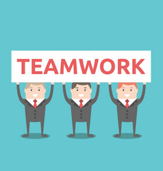 businessmen holding teamwork placard vector image vector image
