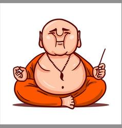 calm buddha practices yoga and meditates vector image