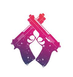 crossed modern pistols guns over white vector image vector image