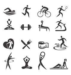 Healthy lifestyle sport icons vector image