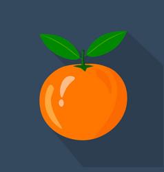 orange cartoon flat icondark blue background vector image vector image