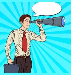 pop art businessman looking in spyglass vector image