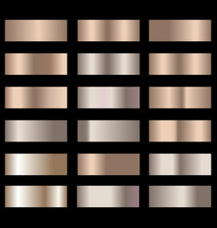 set of bronze foil texture gradation background vector image