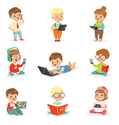 Small kids using modern gadgets and reading books vector
