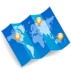 World map with gps marks vector image vector image