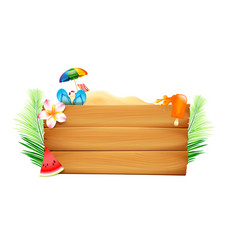 blank wood board with copyspace and summer beach vector image vector image