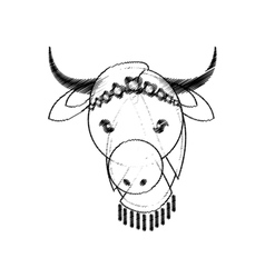 Head indian sacred cow culture vector