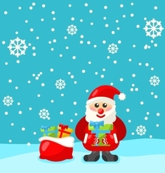 Jolly Christmas Santa Holding Up A Stack Of vector image