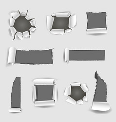 paper sheet with grey torn holes vector image vector image