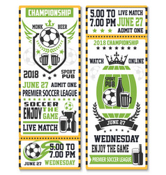 sport game ticket for soccer match vector image