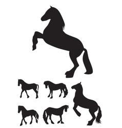 Black Horse Silhouette Set vector image