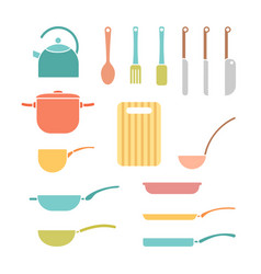 color set of cookware vector image