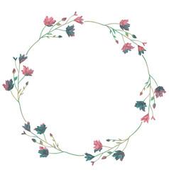 drawn watercolor greenery wreath vector image