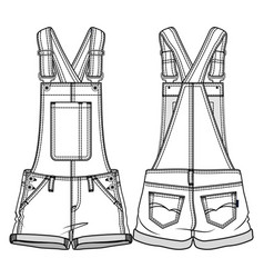front and back sides of kids overall vector image