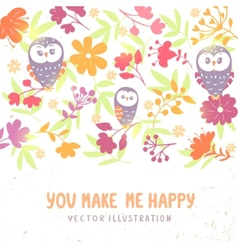 owls and flowers background vector image