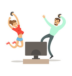 couple with joysticks jumping winningpart of vector image vector image