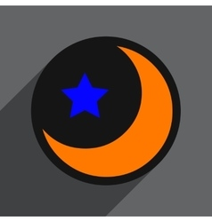 Flat with shadow icon moon and star on colored vector