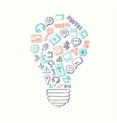 light bulb formed of social media hand vector image