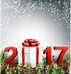 2017 New Year background with garland vector image